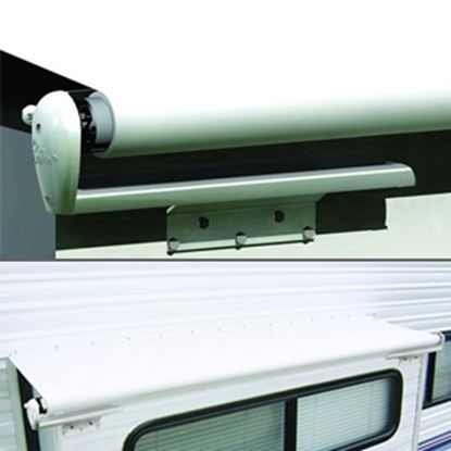 "Picture of Carefree Slideout Cover (TM) Solid White Vinyl 122-129"" Roof X 42""Ext Power Slide-Out Awning LH1290042 00-7940"