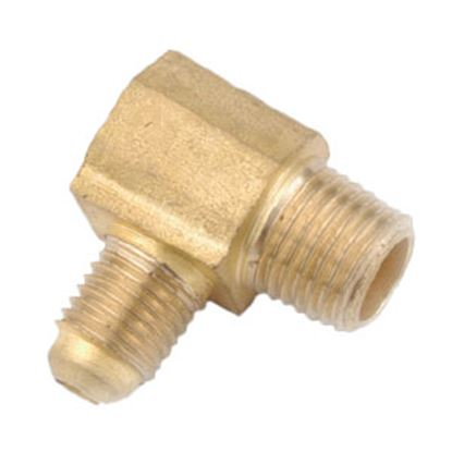 """Picture of Anderson Metal LF 7409 Series 1/2"""" OD Tube 45 Deg SAE Flare x 1/2"""" MPT Brass Fresh Water 90 Deg Elbow 704049-0808 06-1282"""