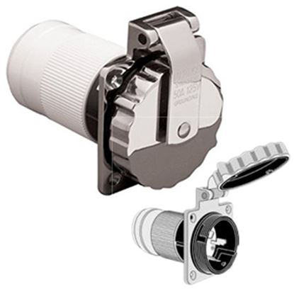 Picture of Marinco  Stainless Steel 125/250V 50A Outdoor/ Indoor Single Receptacle 6373EL-BRV 19-0435
