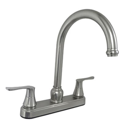 "Picture of American Brass  8""Chrome Finish Gooseneck Kitchen Faucet w/ Handles U-YNN800GSN-DH3-25MM-E 71-5705"